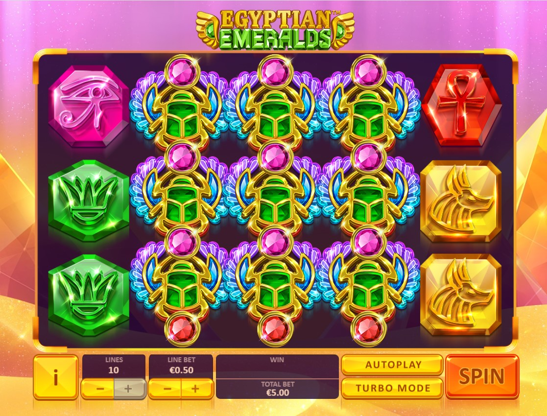 egyptian emeralds playtech reels 1024x780 - Egyptian Emeralds Slot Review