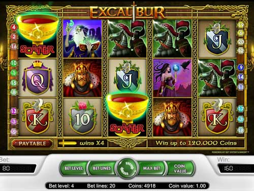 excalibur slot screen