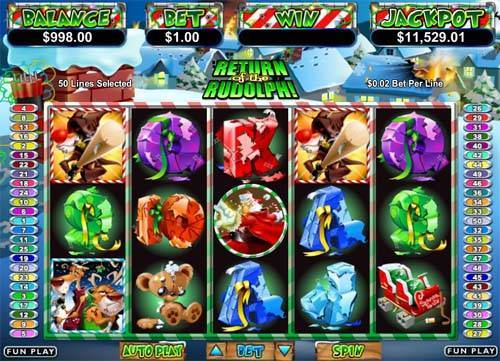 return of the rudolph slot screen - Return of the Rudolph Slot Game