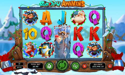 rudolph awakens slot screen - Rudolph Awakens Slot Game