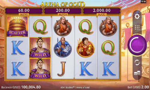 arena of gold slot screen