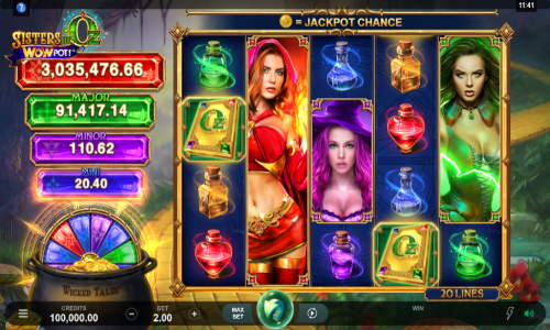 sisters of oz wowpot slot screen - Sisters of Oz Slot Review